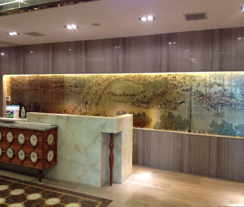 顺德龙江大酒店金箔墙纸画工程